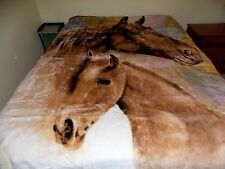 NEW QUEEN SIZE MOTHER HORSE & BABY COLT KOREAN STYLE PLUSH MINK BLANKET