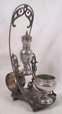Antique Pairpoint Silverplate Condiment Set 309 Quadruple Open Salt Pepper Napki