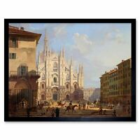Painting Cityscape Milan Migliara Cathedral View 12X16 Inch Framed Print