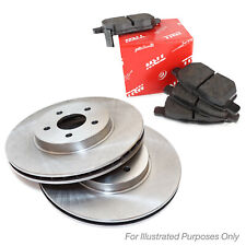 Genuine TRW Front Vented Drilled Grooved Coated Brake Discs & Brake Pads