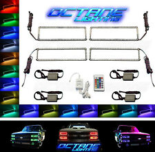 88-98 Chevy GMC Truck Multi-Color Changing LED Shift RGB Headlight Halo Ring Set