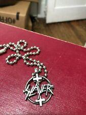 Vintage 2004 Slayer Necklace Solid Pewter Import Name Logo Cross Last One!