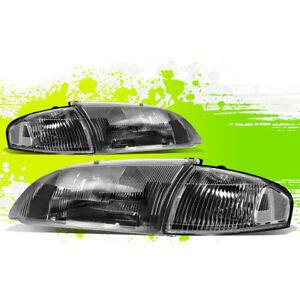 FOR 98-99 MAZDA 626 BLACK HOUSING HEADLIGHT+CLEAR CORNER LAMPS DRIVER+PASSENGER