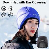 Winter Warm Down Beanie Hat Eiderdown Ear Covering Cap Outdoor Cycling Earflaps