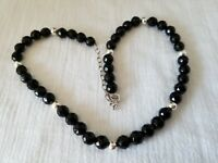 """Sterling Silver 8mm Bead and 6mm Faceted Onyx 16-19"""" Necklace"""