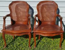 Pair Vintage Thomasville French Provincial Country Cane Back & Seat Armchairs
