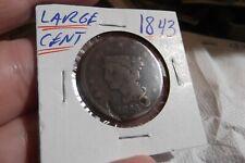 1843 LARGE CENT .... HOLED .... FREE SHIPPING