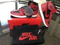"Nike Air Jordan 1 Retro High OG '85 ""Varsity Red"" Reverse Bred sz 12 Damaged Box"