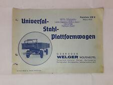 Welger Universal-Stahl-Plattformwagen GEBRUDER Marz 1937 Sales Brochure