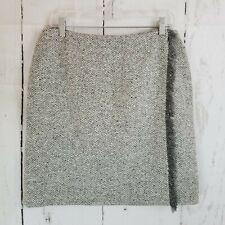 Anne Klein Wrap Skirt Women's Sz 10 Gray Wool Herringbone Lined