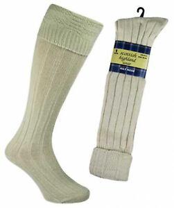 Mens Beige Kilt Socks One Size UK 6-11 EUR 39-45