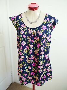 CITY CHIC Navy Blue TOP Size XS 14 Blouse Floral Pink Green Sheer Ruffle White