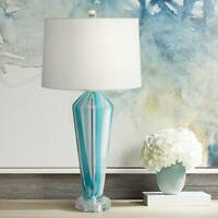 Modern Table Lamp Blue Art Glass White Drum Shade Living Room Bedroom Bedside