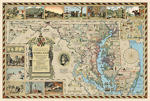 """1931 Pictorial Historical Literary Map Old Line State of Maryland 11""""x16"""" Poster"""