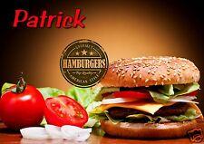 Planche à découper personnalisée dessous de plat burger / prénom réf 19