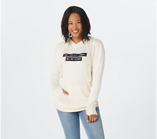 Peace Love World Comfy Knit Hooded Sweatshirt-Cream-XS-NEW-A367753