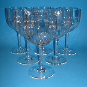 """SET OF SIX(6) MONTAIGNE OPTIC BACCARAT 5 3/4"""" CLARET RED WINE GLASSES"""
