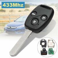 3 Buttons 433Mhz ID48 Remote Key Fob + w/ Blade For Honda Accord CRV  WW
