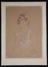 Yves DIEY (1892-1984) Portrait de jeune femme 1927 PARIS FRANCE ART DECO Helleu