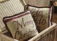 Tartan Christmas Holiday 2 Pillows Set Natural Burlap / Green Red Plaid Ruffle