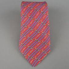 HERMES Red & Blue Diagonal Belt Stripe Print Silk Tie