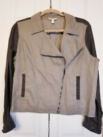 EILEEN FISHER Organic Linen Flax Zipper Front Military Moto Jacket sz Large