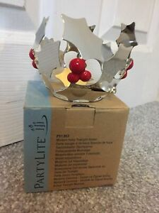 """Partylite """" Modern Holly """" Tealight Holder """" New ,Ex Demo , Boxed"""