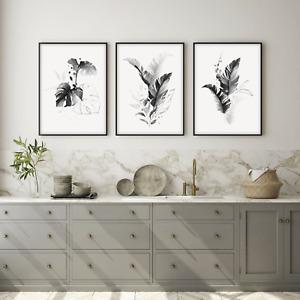 Botanical Prints, Wall Decor Art, Set of 3 Monstera, Fern Palm Tropical Leaves