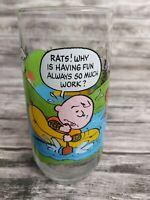 "VINTAGE PEANUTS CHARLIE BROWN CAMP SNOOPY 6"" ENAMELED DRINKING GLASS 1968"
