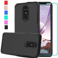 For LG Stylo 4/4 Plus /4+/Q Stylus Armor Slim Hybrid Case Cover+Screen Protector