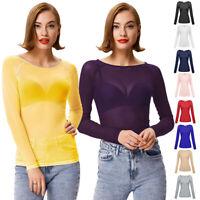 Womens Sheer Mesh Long Sleeve T-Shirt Tee Hollow Transparent Slim Blouse Tops