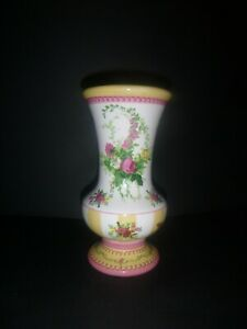 Laura Ashley Ceramic Floral Vase French Country Stripe - Yellow Pink Green White