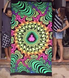 Psychedelic Tapestry UV Active Blacklight Backdrop Trippy Wall Art Hippie Poster