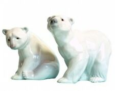 Lladro Polar Bear Figurines Attentive and Resting Bears
