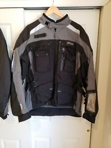 Men's Olympia Moto Sports Motorcycle Jacket XL 3/4 length Black and Silver