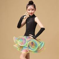 KIDs TUTU dance costume Salsa Ballroom Child Latin dress girl dancewear Costumes
