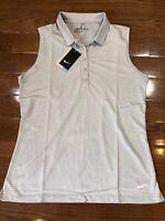 Nike Golf 840334-012 Women's Heather Gray White Sleeveless Polo Shirt Sz Large