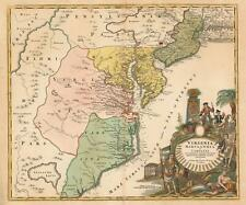1715 Homann Map of Carolina, Virginia, Maryland and New Jersey