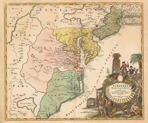 1715 Homann Map of Carolina, Virginia, Maryland and New Jersey