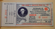 Vintage Veterans of Foreign Wars Lottery Ticket w Stub Never Sold Unused 1937 NY