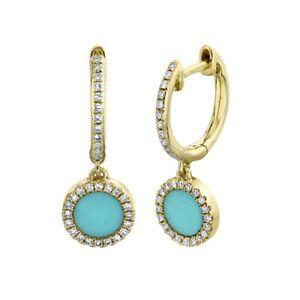 Turquoise Diamond 14K Yellow Gold Earrings Drop Dangle Circle 0.64 TCW