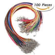 """100Pcs 18"""" 1.5mm Braided Wax Cord Cotton Necklace for DIY Jewelry Making DR"""