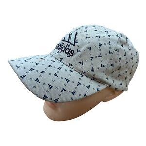 ADIDAS Embroidered Baseball Cap Hat Beige Vintage Sport Spellout Adjustable