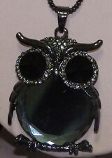 New Alloy Crystal & Glass Owl Sweater Pendant on a 2mm Chain Necklace