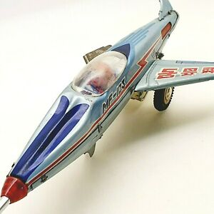 VINTAGE Tin toy MF103 SUPER SONIC JET PLANE Friction mech CHINA 1960's AS PARTS