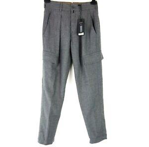 Drykorn Damen Hose Blok Grau mit Wolle Stoffhose Cargo Business Np 150 Neu