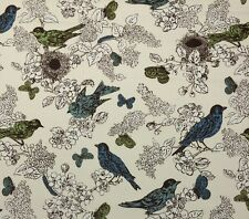 "DURALEE PERCH SEAGLASS D4124 BIRD BUTTERFLY EXCLUSIVE FABRIC BY YARD 54""W"