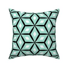 Mint Coral Geometric Retro Throw Pillow Cover w Optional Insert by Roostery