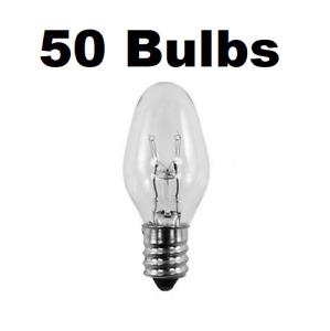 7 Watt, C7 Night Light, 130 Volt, Clear, E12 Candelabra Base 50 Bulbs