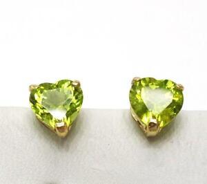 SYJEWELLERY 9CT SOLID YELLOW GOLD HEART CUT NATURAL PERIDOT STUD EARRINGS E851
